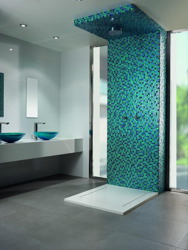 Compra mosaicos ambiente nereida mosaicos de calidad for Teal brown bathroom ideas