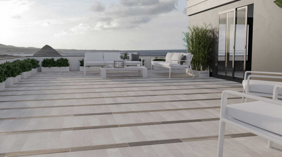 Floor tiles for terraces and outdoors